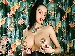 Busty brunette in stockings with a weird fetish