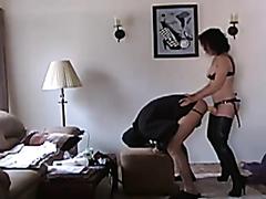 Bossy wife pegging her kinky husband