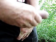 Old man jerking his dick in the park