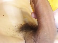 Smooth college guy with super hard uncut rhino penis throbbing out a load