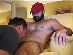Muscled, hairy, Middle eastern stud worshipped and sucked off