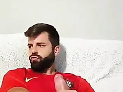 Bearded Portuguese Jerking off and Cumming