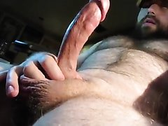 Hot Hairy Bear Jacks Off and Cums