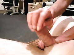 Master Plays with his slave balls and dick