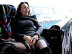 Milf in black stockings masturbating in the bus