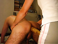 Husband dominated and pegged by his kinky wife