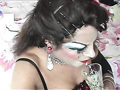 transvestite sow swallows cum