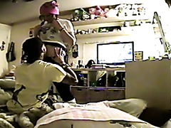 Teen couple having sex at home
