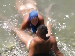 Wife sucking dick in shallow water