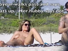 Super hot busty slut fingered at the beach
