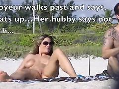 Super hot busty slut fingered at the beach