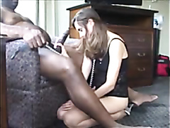 White babe rocked by a black monster cock