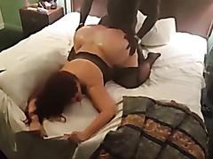 Mature white bubble butt slut drilled by a black stud