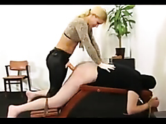 Dominant blonde pegging her submissive slave