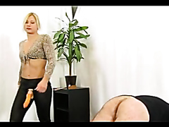 Dominant blonde pegging her horny husband