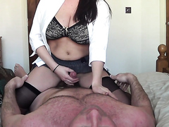 Busty brunette milf makes her man happy