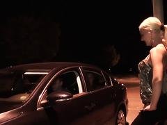 Hot blonde whore gangbanged on the street