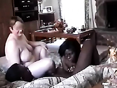 White milf joins a black couple in a threesome