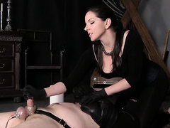 Dominatrix face sitting and jerking dick