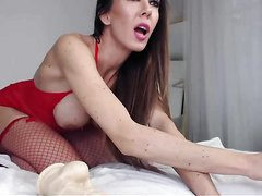 Model On Cam With Her Huge Toys part 1