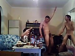 Russian guys dancing with their cocks out