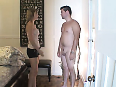 Jerking in front of woman