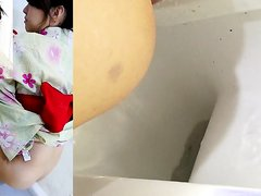 Japanese Girls in Kimonos Using Bathroom 1/3