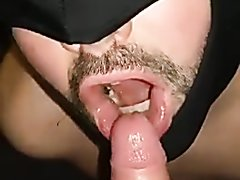 Cocksucker swallows piss/cum