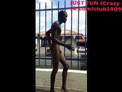 BIZARRE NAKED BLACK BOY ON THE STREET