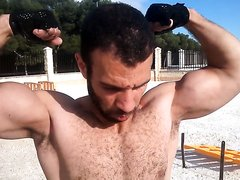 Biceps -beast Samy trains n shows off