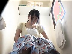Cute girl diarrhea on toilet
